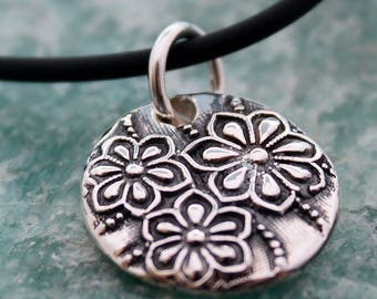 silver flower necklace / silver flower pendant / small flower necklace / fine silver pmc /  handmade