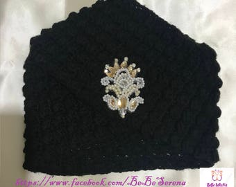 Turban Hat women black crochet beaded flower