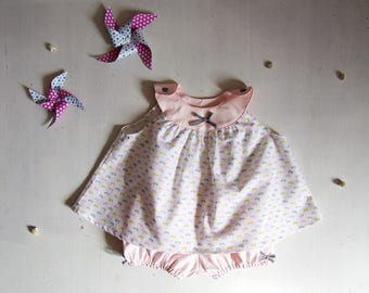 Set blouse and bloomers, newborn, white and baby powder pink