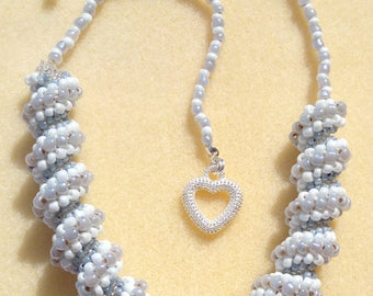 Seed Bead Spiral Necklace, Spiral Necklace, Twisted Necklace, Wedding Necklace, Gifts for Her, Mothers Day Gift, Valentines Gift, Seed Beads