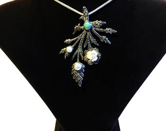 Leaf Shaped Sterling Silver Necklace with Turquoise