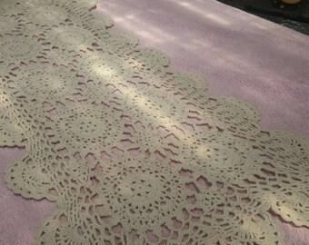 "White Crochet Lace Vintage Tablecloth 27"" X 11"", white crochet lace runner"
