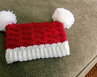 Crochet Santa Sack Hat - Christmas Hat - Pom Hat - Baby Shower Gift - Photo Prop