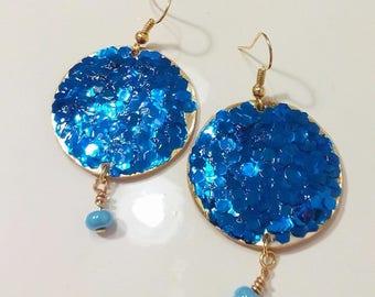 Gold bead earrings blue cornflower blue glitter with/earrings