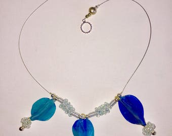 Translucent Cerulean Blue Sculptural Beaded Necklace