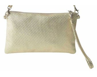 Pouch and bag leather shoulder strap for women, metallic color gold