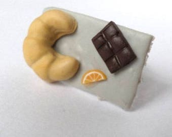 Orange ring Crescent top chocolate Fimo
