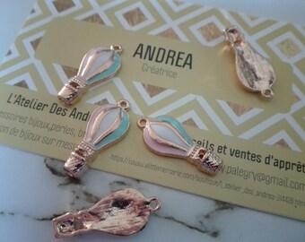 Set of 5 pretty enamelled pendant/balloon/Golden/23 x 10 x 2 mm