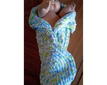 Hand-knit baby cocoon