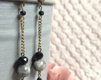 Grey marble bead earrings