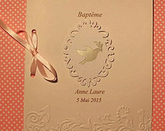 "Booklet of baptism or communion ""Dove"" custom cardboard embossed by hand with your text on the inside"