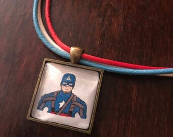 Captain America/Steve Rodgers original fan art pendant necklace - Cap for Prez!