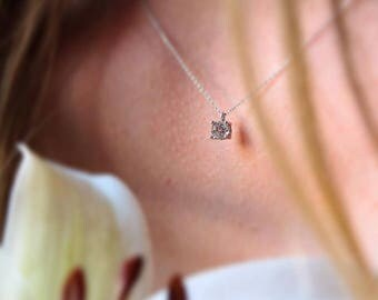 14k Gold Solitaire Necklace - Gold Necklace Available in 14k Gold, White Gold or Rose Gold
