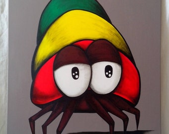 Contemporary painting of a hermit crab