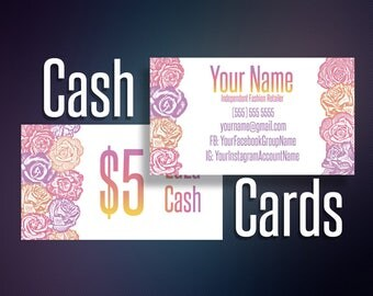 Cash Cards, Lula Cash, LulaCash Cards, Money, Bucks, Cash Money, Reward Card, Digital File, Home Office Approved Color&Fonts