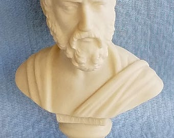 Alabaster Bust of SOPHOCLES, Greek Tragedian(Playwright), Hand Made By Greek Co Ifestos