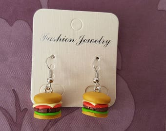 """burger"" with polymer clay hook earrings"