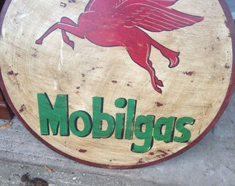 Metal Hand Painted Mobilgas Sign