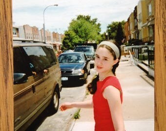 Vintage Photo Color Photo Vintage Snapshot Young Girl IN red shirt  - 1984 - 1980s Photo - Fashion -