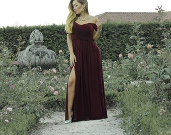 Dark red draped dress