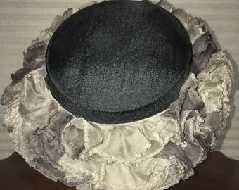 1950s Black Hat with Ruffle Brim