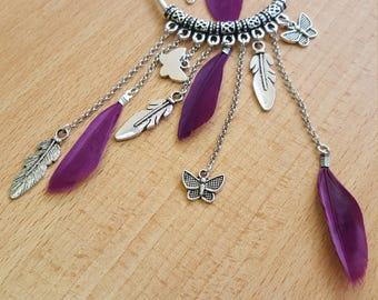 Dream influance Dreamcatcher pendant with real purple feathers