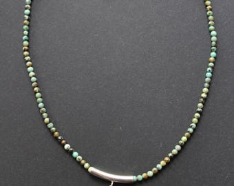 Short necklace made of African turquoise stone pendant with mother of Pearl Paua