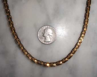 Vintage Signed Monet Gold Tone Box Link Heavy Chain Necklace SHIPS FREE