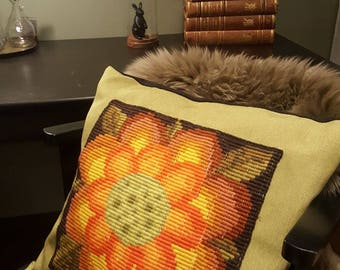 cushion cover, sunflower,  wool embroidery, designer, unique