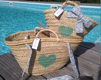 Duo of mother/daughter heart seagreen and liberty Beach baskets/bags