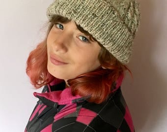 Wool Cabled Hat for Child sized Medium - Tween