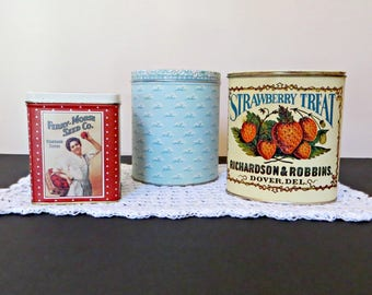 Vintage Bristol Ware Collectible Tins | Ferry-Morse Seed Co. | Girl Picking Flowers | Strawberry Treat Richardson & Robbins
