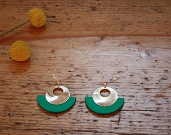 CLEO earrings, gold and Mint green leather