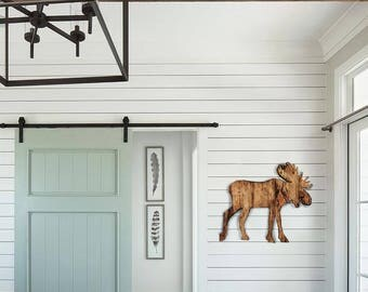 Wood Moose Sign   Wall Hanging   Reclaimed Wood   Pallet Sign   Home Decor   Wall Art   Rustic Decor