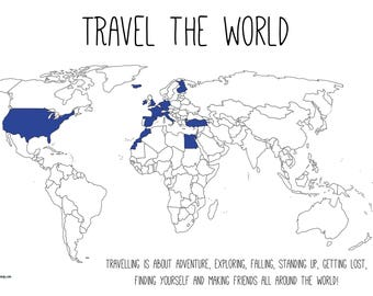 TRAVEL THE WORLD 90x60cm (canvas-poster)