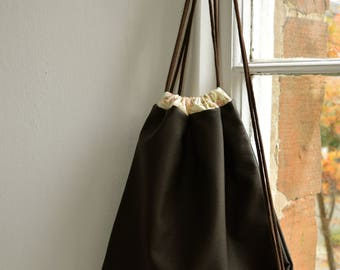 Drawstring Backpack, Backpack, Drawstring Bag, Faux Leather, Leatherette, Rucksack, Lined Drawstring Bag, Leather Look, Festival Backpack