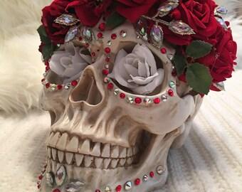 Sugar Skull with Flower Crown, Dia De Los Muertos, Day of the Dead