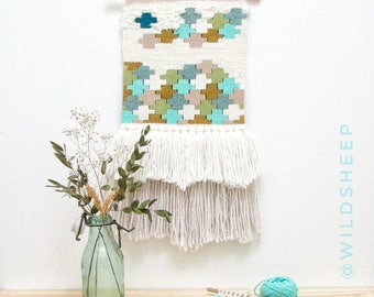 Woven Wall Hanging - Woven Tapestry - Blue Wall Hanging