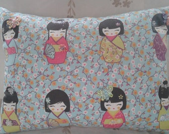 Blue Japanese Doll Cushion