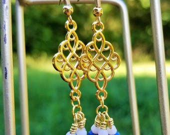 Gold Chandelier Pendant Earrings/ Blue & White Accents