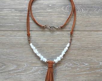 Suede and Blue Lace Agate Tassel Necklace