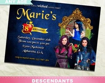Descendants Invitation, Descendants Birthday Party, Descendants Printable Invite, Photo Invitation, Digital Card, Girl Birthday, INV-012