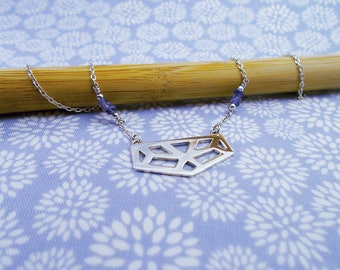 Necklace 925 sterling silver and Iolite beads