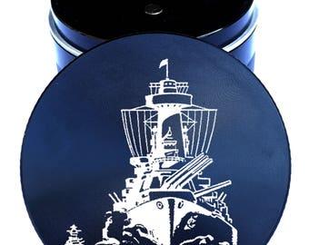 "Ship #3 Engraved Herb Grinder - Nautical Grinders - 2.2"" Herb Grinder - Laser Engraved Herb Grinder - 4pc Herb Grinder  - Life Time Warranty"