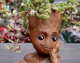 Baby Groot Flower Pot Succulents 3D Printed Planter Home Decor Gift For Him - Fan Art for Marvel Guardians of the Galaxy