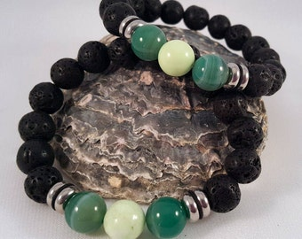 Gemstone bracelet made of lava, agate and lemon chrysoprase as well as stainless steel elements