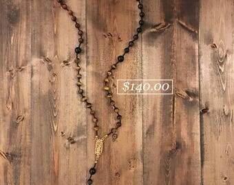 Gold, Red, & Blue Tiger's Eye Crystal Rosary
