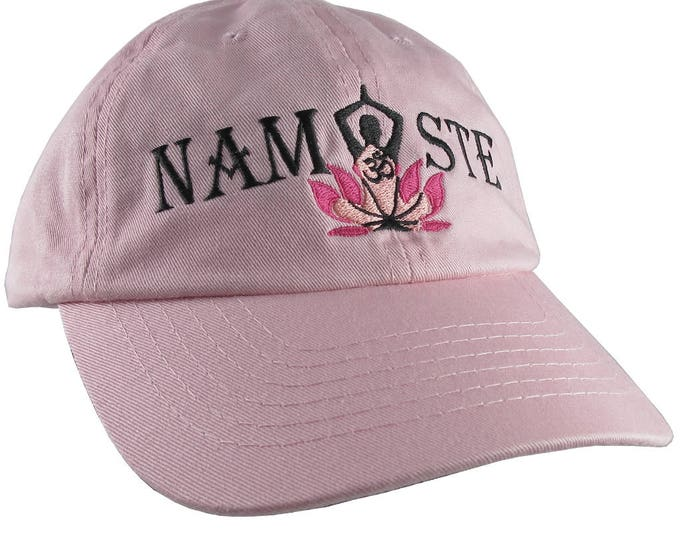 Yoga Pose Om Symbol Lotus Flower Namaste Embroidery on an Adjustable Pink Unstructured Dad Hat Style Baseball Cap