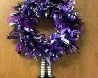 Purple and Black Halloween Witch Light Up Wreath. Halloween Door Decoration with lots of Sparkle. Super Cute & Whimsical.