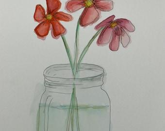 Mason Jar Flowers Watercolor